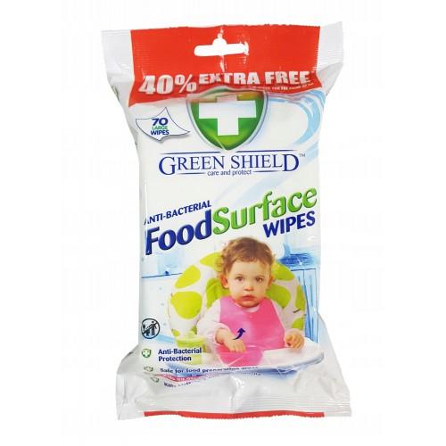 Chusteczki antybakteryjne dla dzieci Green Shield Antibacterial Food Wipes 70szt.