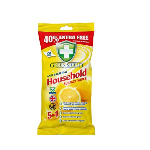 Chusteczki antybakteryjne do czyszczenia  Green Shield Household Surface Wipes 70szt.