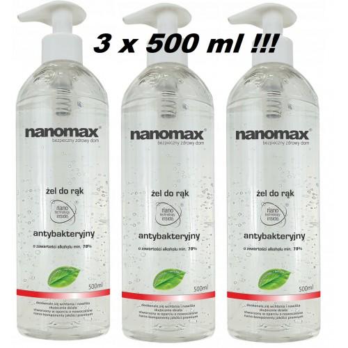 3 x NANOMAX Żel antybakteryjny do rąk 500 ml