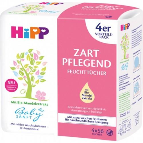 HIPP Zart Pflegend nawilżane chusteczki 4x56 szt.
