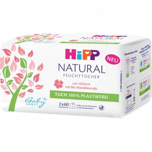 HIPP Natural nawilżane chusteczki 2x60 szt.