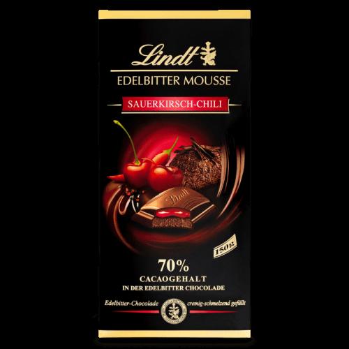 LINDT Edelbitter Mousse Sauerkirsch-chili 150g